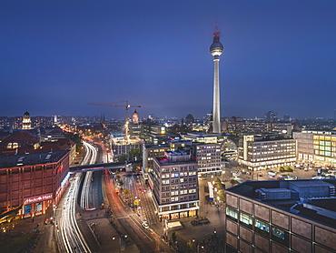 View of Alexanderplatz and Berliner Fernsehturm, blue hour, Berlin, Germany, Europe