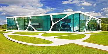 Leonardo Glass Cube, futuristic building, presentation centre, Bad Driburg, North Rhine-Westphalia, Germany, Europe