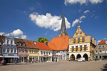 Market place with town hall, Werne, North Rhine-Westphalia, Germany, Europe