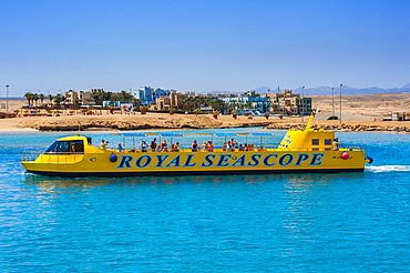 Glass bottom boat, Port Ghalib, Marsa Alam, Red Sea, Egypt, Africa