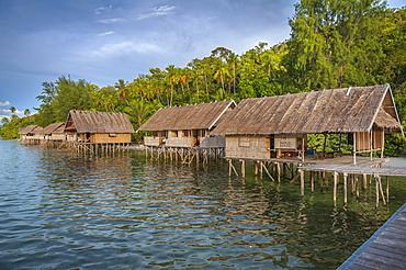 Bungalows, Papua Diving Resort, Kri Island in the Dampier Strait, West Papua, Indonesia, Asia