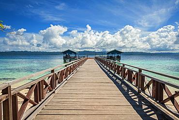 Landing stage, Arborek Island, Raja-Ampat, Western New Guinea, Indonesia, Asia
