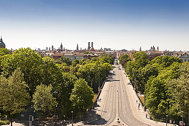 View from the Maximilianeum on Maximilianstraße and downtown, Munich, Bavaria, Upper Bavaria, Germany, Europe