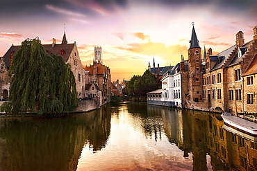 Rozenhoedkaai, The Quai of the Rosary with canal and belfry at sunset, historic center, UNESCO World Heritage Site, Bruges, Flanders, Belgium, Europe
