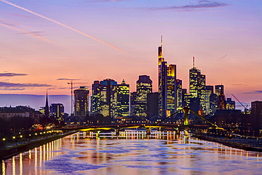 Skyline Financial District, dusk, Frankfurt on the Main, Hesse, Germany, Europe