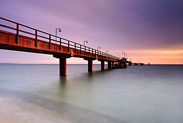 Pier on the beach at morning light, long exposure, Seebad Gohren, Rugen, Mecklenburg-Western Pomerania, Germany, Europe