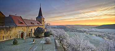 Zscheiplitz Abbey covered in hoarfrost at sunrise, with view of the Unstrut Valley, winter, Freyburg, Saxony-Anhalt, Germany, Europe