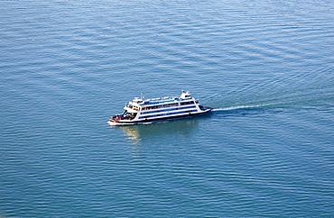 Aerial view, Meersburg ferry, Lake Constance, Baden-Württemberg, Germany, Europe