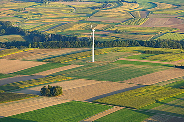 Wind turbine in agriculture landscape, fields, Scheer, Baden-Württemberg, Germany, Europe