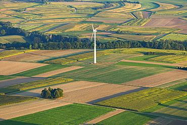 Wind turbine in agriculture landscape, fields, Scheer, Baden-Württemberg, Germany, Europe