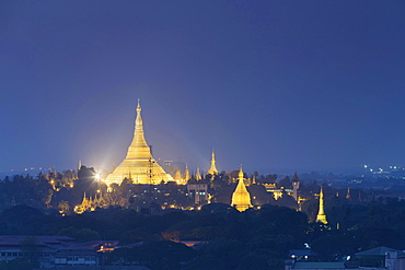Shwedagon pagoda at sunset, Yangon, Myanmar, Asia