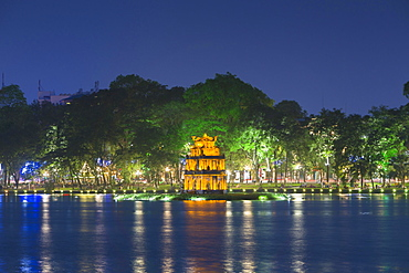 Thap Rua Temple or Turtle Tower at night, Hoan Kiem lake, Hanoi, Vietnam, Asia