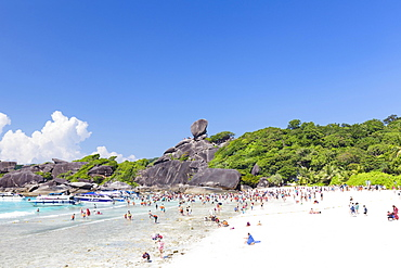 Bathing beach and sail rock, Ko Similan, Mu Ko Similan National Park, Similan Islands, Phang Nga province, Thailand, Asia