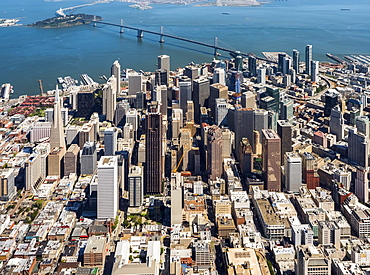 Aerial view, Transamerica Pyramid, View of the South of Market district SoMa, Financial District, Downtown, San Francisco, San Francisco Bay Area, California, USA, North America