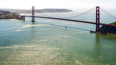 Aerial view, Golden Gate Bridge as seen from the Bay Area, San Francisco, California, USA, North America