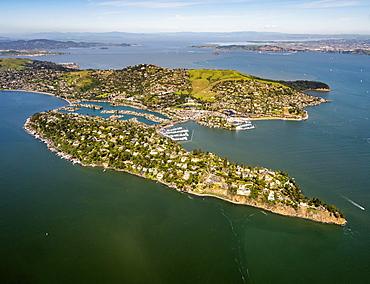 Aerial view, Belvedere Tiburon peninsula, San Francisco Bay Area, California, USA, North America