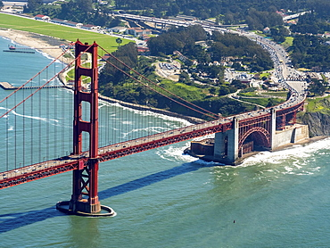 Aerial view, south side of the Golden Gate Bridge, San Francisco, San Francisco Bay Area, California, USA, North America