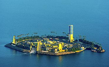 Oil island off Long Beach, White Island, THUMS T-3 Island White, Long Beach, Los Angeles County, California, USA, North America