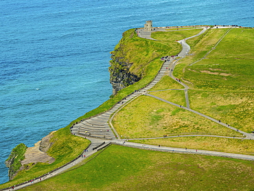 O'Brian's Tower, lookout tower on Cliffs of Moher, Cliff, County Clare, Ireland, Europe