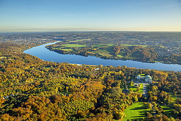 Lake Baldeney in fall, Essen, Ruhr district, North Rhine-Westphalia, Germany, Europe