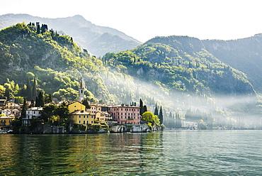 Village on the lake, Varenna, Lake Como, Lago di Como, Lecco province, Lombardy, Italy, Europe