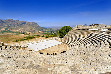 Theatre of Segesta, Greek temple complex Segesta, province of Trapani, Sicily, Italy, Europe