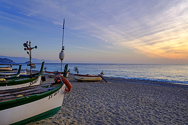 Fishing boats on the beach, sunrise, Noli, Riviera di Ponente, Liguria, Italy, Europe