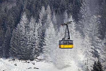 Nebelhornbahn in winter, cableway, Oberstdorf, Allgäu, Bavaria, Germany, Europe