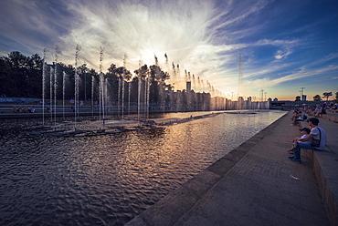 Fountains in the Iset River, Ekaterinburg city center, Sverdlovsk Oblast, Russia, Europe