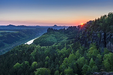 Landscape with rock formations, trees and cloudy blue sky, Saxon Switzerland National Park, River Elbe behind, Bad Schandau, Saxony, Germany, Europe