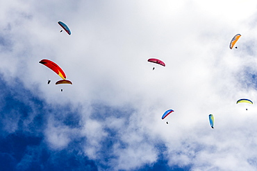 Many paragliders are flying in the air, over Pokhara and Phewa Lake, Sarangkot, Kaski District, Nepal, Asia