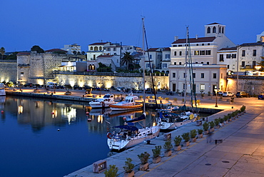 Harbour, blue hour, Alghero, Sassari, Province of Sardinia, Italy, Europe