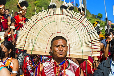 Tribesman at the Hornbill Festival, Kohima, Nagaland, India, Asia