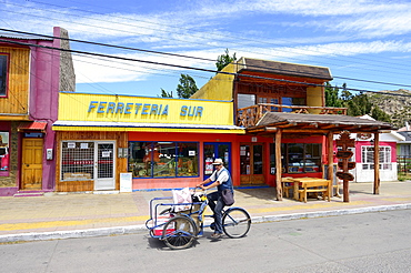 Freight bicycle in the main road, Region XI, Chile, South America