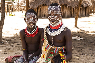 Two girls with traditional face painting, Karo tribe, Southern Nations Nationalities and Peoples' Region, Ethiopia, Africa