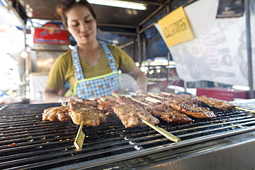 Market, meat skewers at a market stall, Krabi Town, Krabi Province, Thailand, Asia