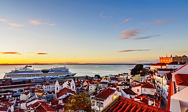 Alfama Neighbourhood, Tajo River, Miradouro das Portas do Sol, Lisbon, Portugal, Europe