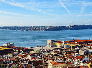 Praca do Comercio and Tajo River viewed from the Sao Jorge Castle, Lisbon, Portugal, Europe