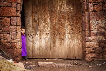 Small child in a Berber village near Marrakech, Morocco, Africa