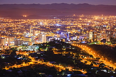 Downtown at night, Windhoek, Namibia, Africa