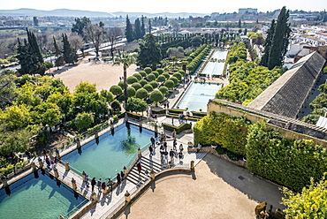 View of the Alcazar Garden, Cordoba, Cordoba Province, Andalusia, Spain, Europe