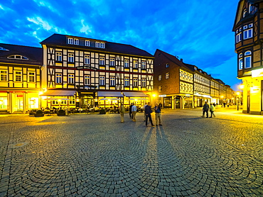 Marketplace at dusk, historic centre, half-timbered houses, Wernigerode, Harz, Saxony-Anhalt, Germany, Europe