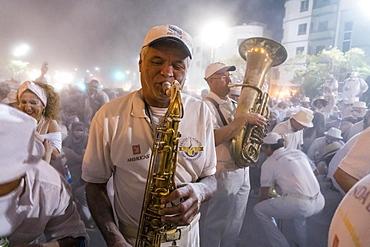 Band Banda de Agaete, white powder and white clothes, carnival La fiesta de Los Indianos, Las Palmas de Gran Canaria, Canary Islands, Spain, Europe