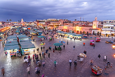 Djemaa el Fnaa market square at dusk, Marrakech, Morocco, Africa