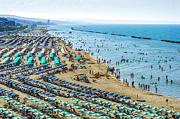 Overcrowded touristic bathing beach with umbrellas, Lungomare Cristoforo Colombo, Molise, Italy, Europe