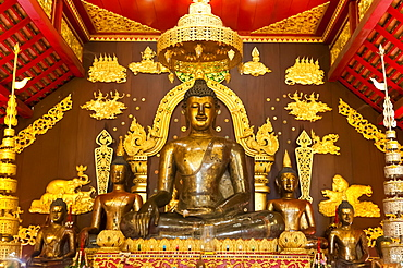 Sacred Buddha statue in Ubosoth or Bot, temple complex Wat Phra Kaew, Chiang Rai, Chiang Rai province, northern Thailand, Thailand, Asia