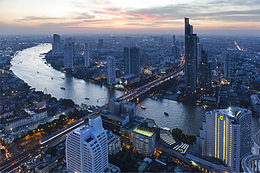 View from Lebua State Tower with Chao Phraya River, bridge to Khlong San, dusk, Bang Rak District, Bangkok, Thailand, Asia