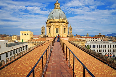 On the roof of the Palermo Cathedral, Palermo, Sicily, Italy, Europe