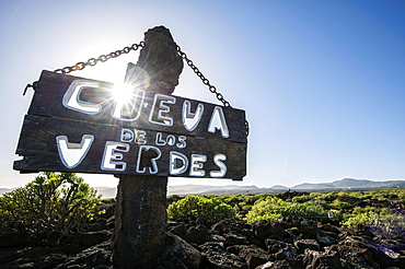 Cueva de los Verdes, sign, Lanzarote, Canary Islands, Spain, Europe