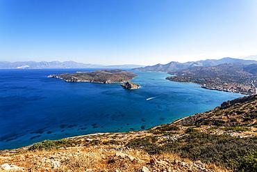 Panoramic view of  Elounda bay, Agios Nikolaos, Crete, Greece, Europe